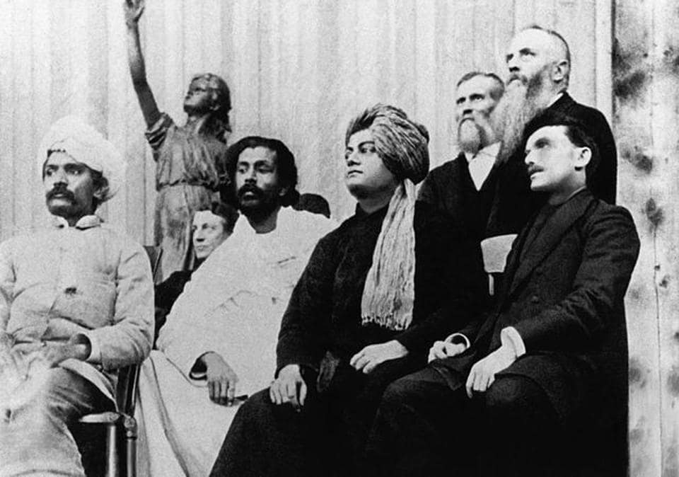 Swami Vivekananda, wearing a turban, at the Parliament of the World's Religions in 1893.