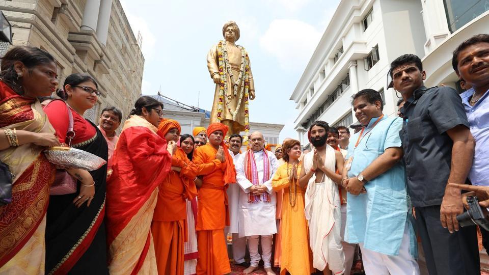 Amit Shah during his visit to Swami Vivekananda's house in Kolkata. (Photo: Amit Shah Twitter)