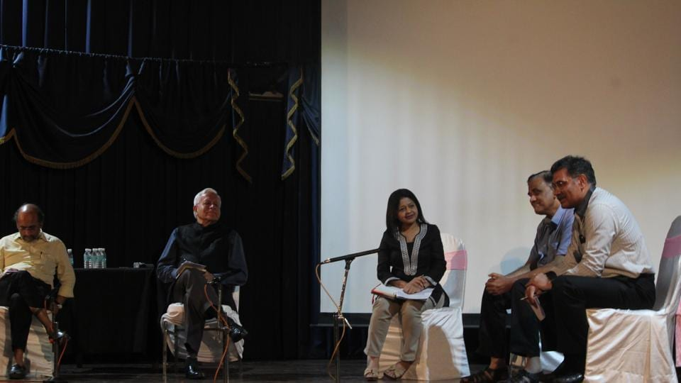 The panel discussion on the political and economic status of India, at Arthanomics, the annual fest of the Economics department of Jai Hind College