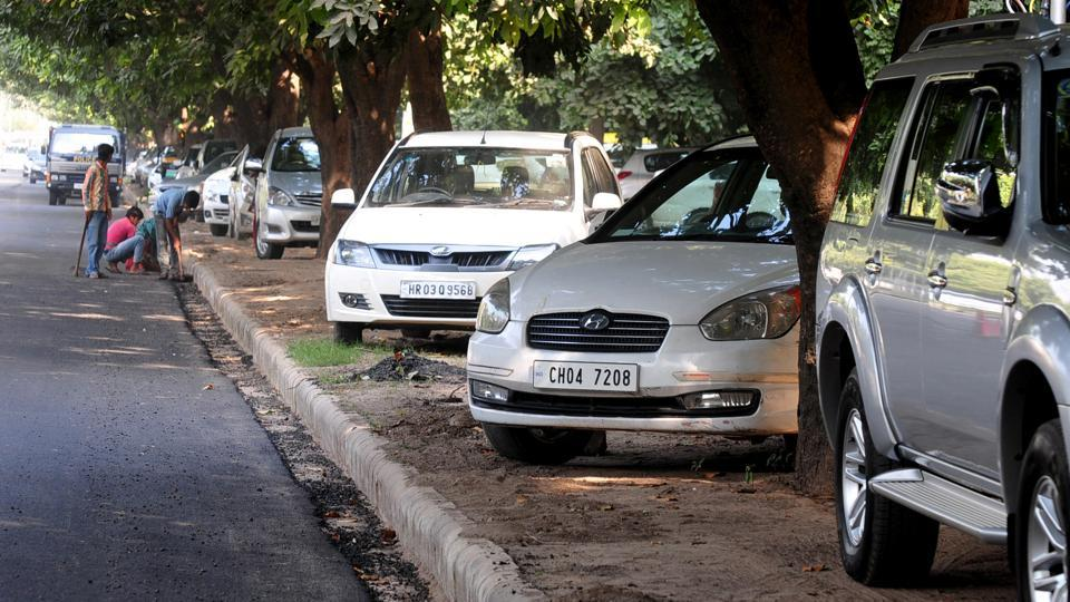 Parking on the green belts in Sector 43, Chandigarh.