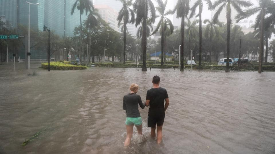A view of flooding in the Brickell neighbourhood in Miami, Florida. Florida's governor activated all 7,000 members of the Florida National Guard, and 10,000 guardsmen from elsewhere were deployed. Nearly 7 million people in the Southeast were warned to evacuate, including 6.4 million in Florida alone. (Stephen Yang / REUTERS)
