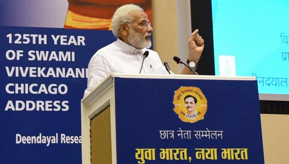 Prime Minister Narendra Modi addresses a gathering of students on the theme of Young India, New India in New Delhi on Monday. (PIBPhoto)