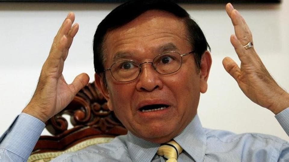 File photo of Kem Sokha, leader of the opposition Cambodia National Rescue Party (CNRP), gestures during an interview with Reuters at the CNRP headquarter in Phnom Penh on June 23, 2016.