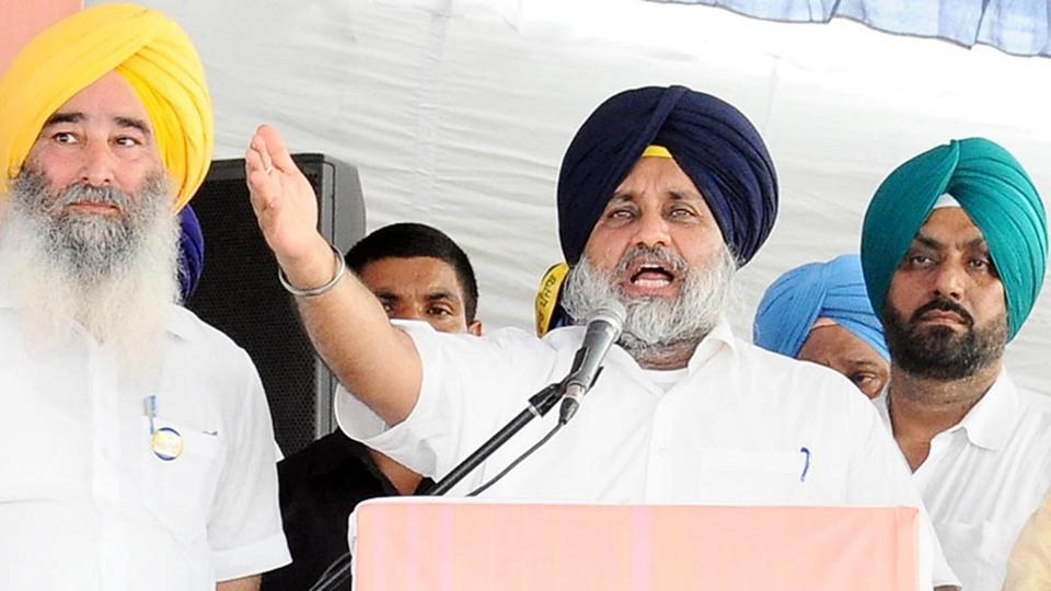 Shiromani Akali Dal president and former Punjab deputy chief ,minister Sukhbir Singh Badal addressing party workers.
