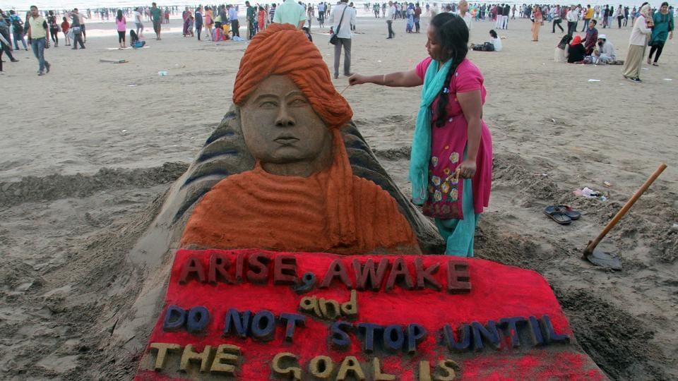 A sand sculpture commemorates Swami Vivekananda at Juhu Beach in Mumbai in January 11, 2017.