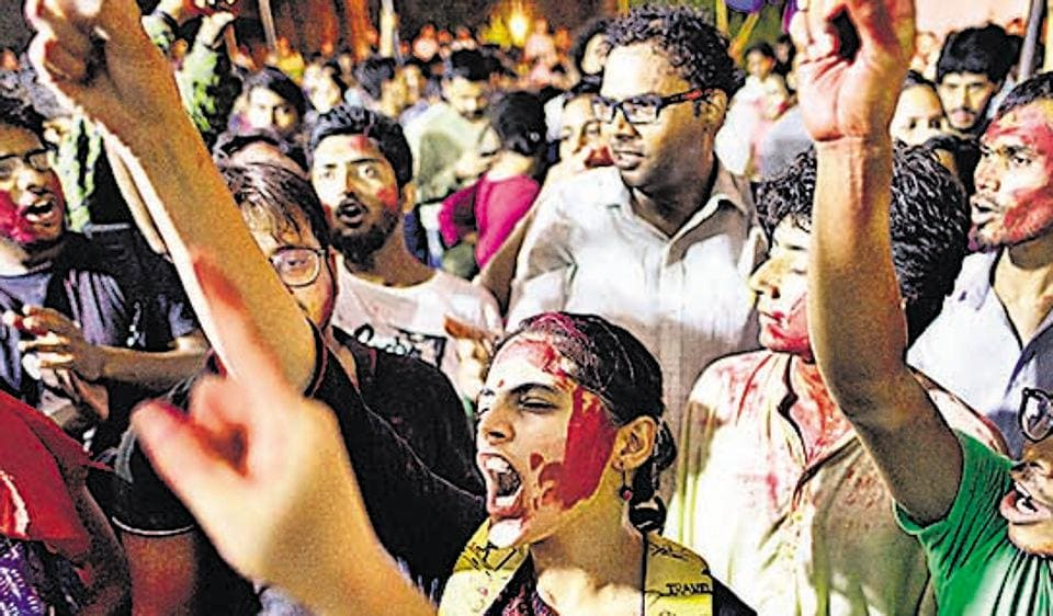 Students waiting for the announcement of results of the JNUSU elections  on September 10.  When the results were announced the United left alliance swept the elections, beating the ABVP and the BAPSA.