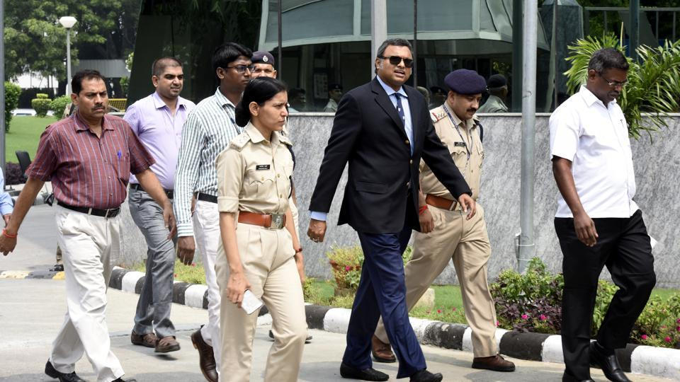 Karti Chidambaram, son of Congress leader and former finance minister P Chidambaram, arrives at the CBI headquarters in New Delhi on August 23.