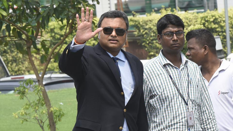 Karti Chidambaram arrives at the CBI office in New Delhi in connection with the INX Media case.