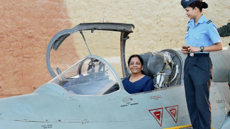 Defence minister Nirmala Sitharaman inside the cockpit of MIG-21 Biscon during her visit to Air Force Station Uttarlai in Gujarat on Sunday.