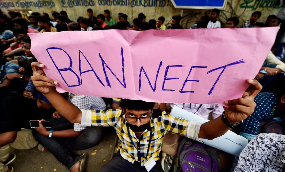 Loyola College students during their protest demanding justice for Anitha and urging the Central government to ban NEET, in Chennai.