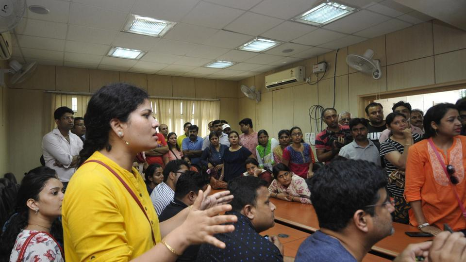 City magistrate meets parents of children studying at Ryan International School  in Noida.