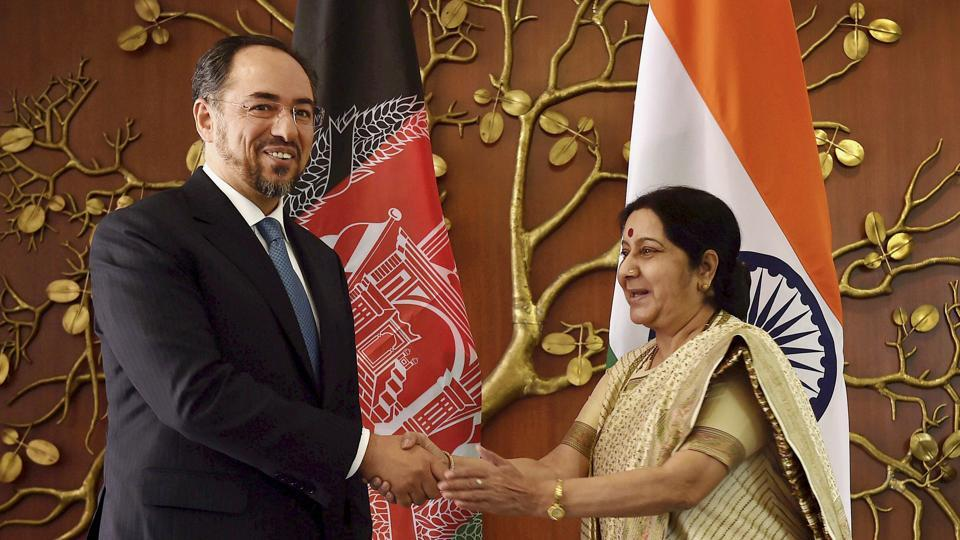 External affairs minister Sushma Swaraj with Salahuddin Rabbani, minister of foreign affairs of Afghanistan before a meeting in New Delhi on Monday.
