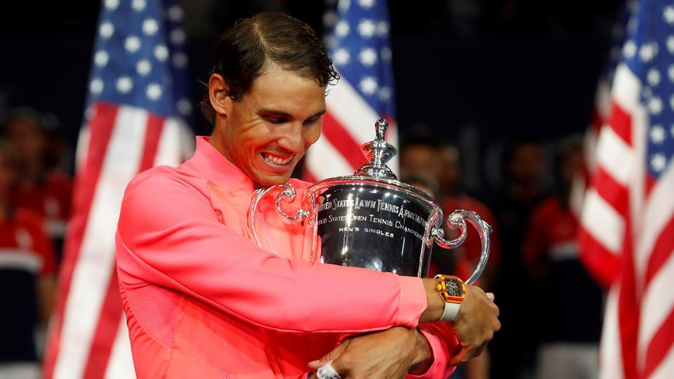 Rafael Nadal holds the US Open trophy after defeating Kevin Anderson in the men's singles final. (REUTERS)