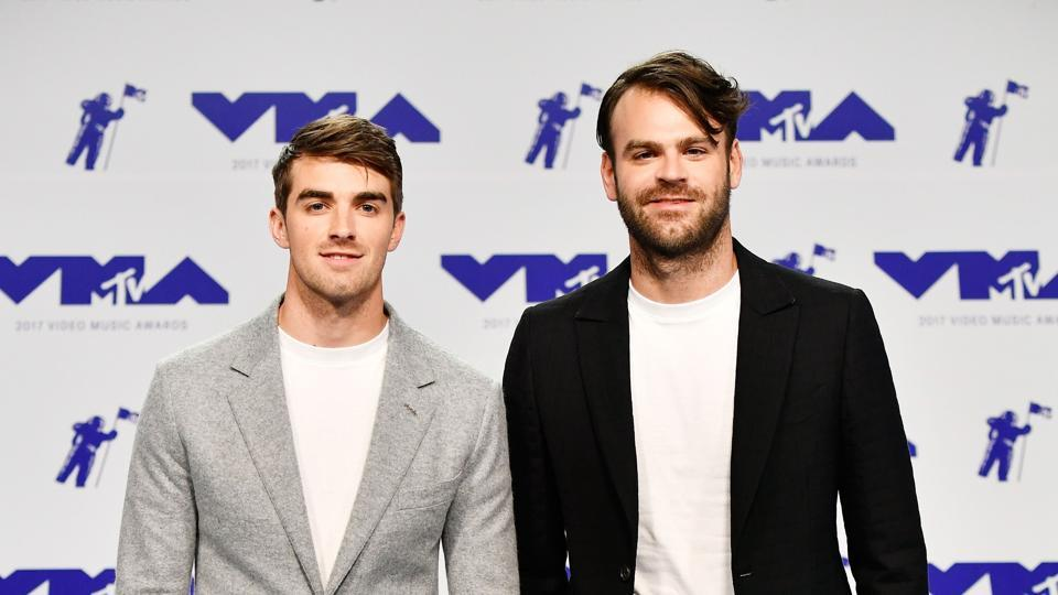 Andrew Taggart (L) and Alex Pall of The Chainsmokers attend the 2017 MTV Video Music Awards.