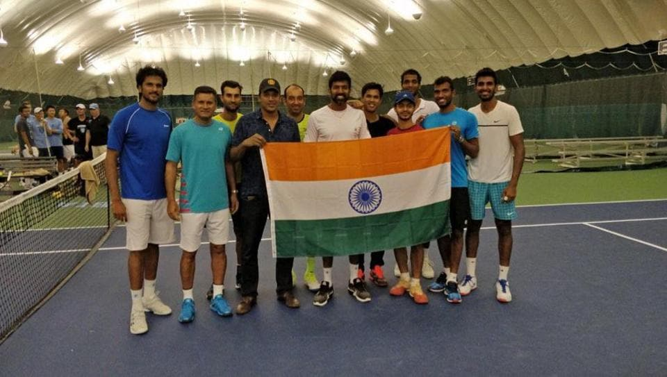 The Indian Davis Cup team in Edmonton ahead of the clash against Canada.