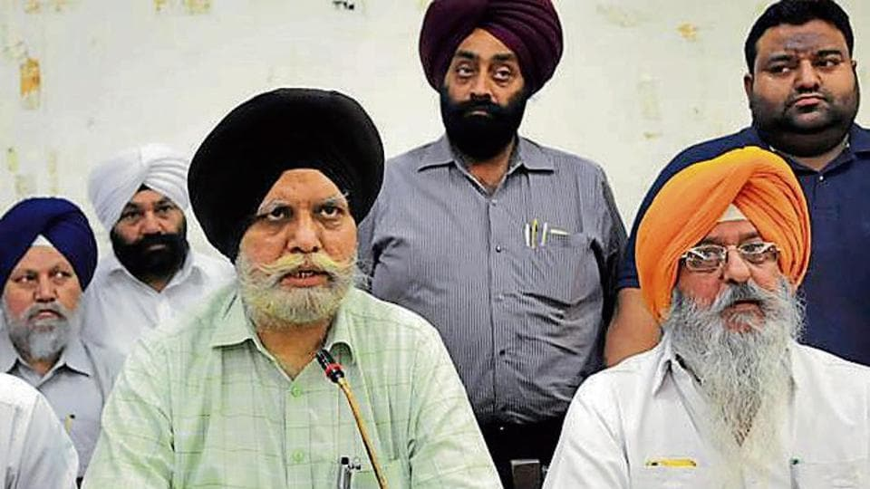 SAD-BJP leaders addressing mediapersons in Ludhiana on Monday.