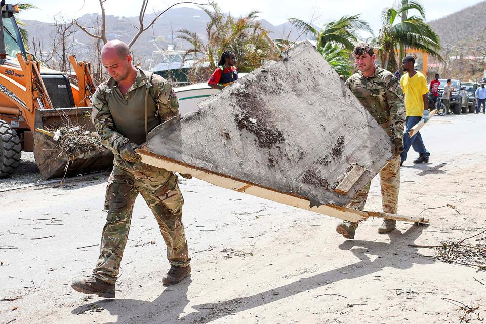 British Army commandos take part in recovery efforts after Hurricane Irma passed Tortola in the British Virgin Islands.