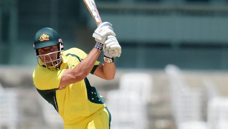 Australian cricketer Marcus Stoinis plays a shot during the Australia XI vs India's Board President XI warm-up cricket match in Chennai on Tuesday.