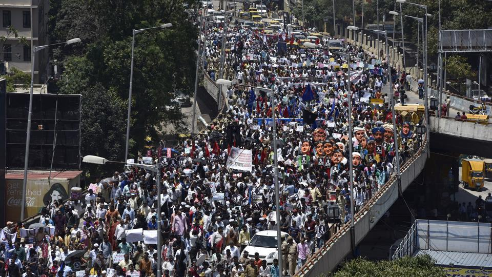 Thousands of people participate in a public rally held to condemn journalist Gauri Lankesh's murder in Bengaluru on Tuesday.