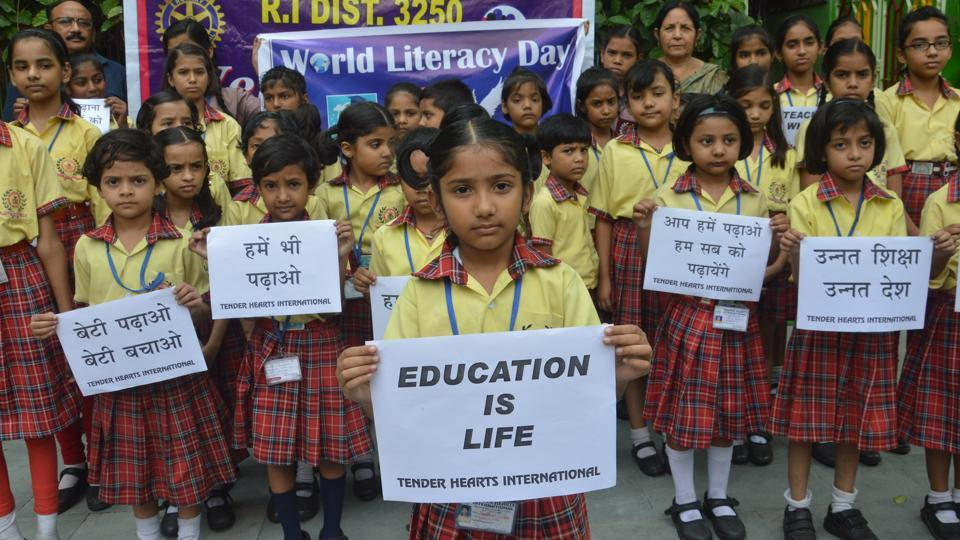 Children celebrate World Literacy Day, Patna, September 8, 2017