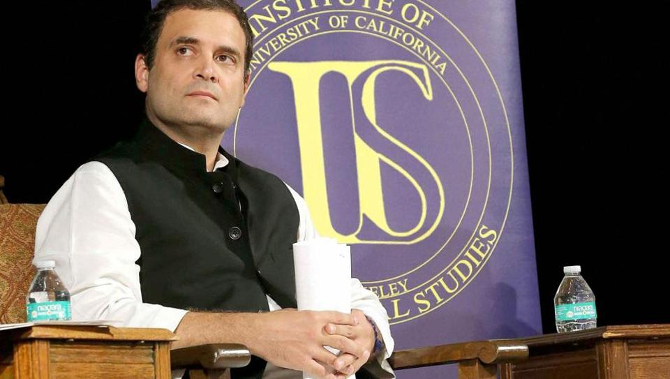 Congress vice president, Rahul Gandhi at the Institute of International Studies at UC Berkeley, California, on Monday.