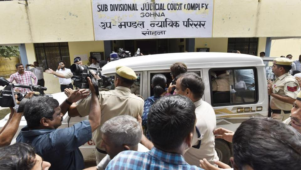 Fourty two-year-old Ashok Kumar, who  allegedly slit the throat of an eight-year-old inRyan InternationalSchool,Bhondsi, on Friday morning was produced before a court on Tuesday.