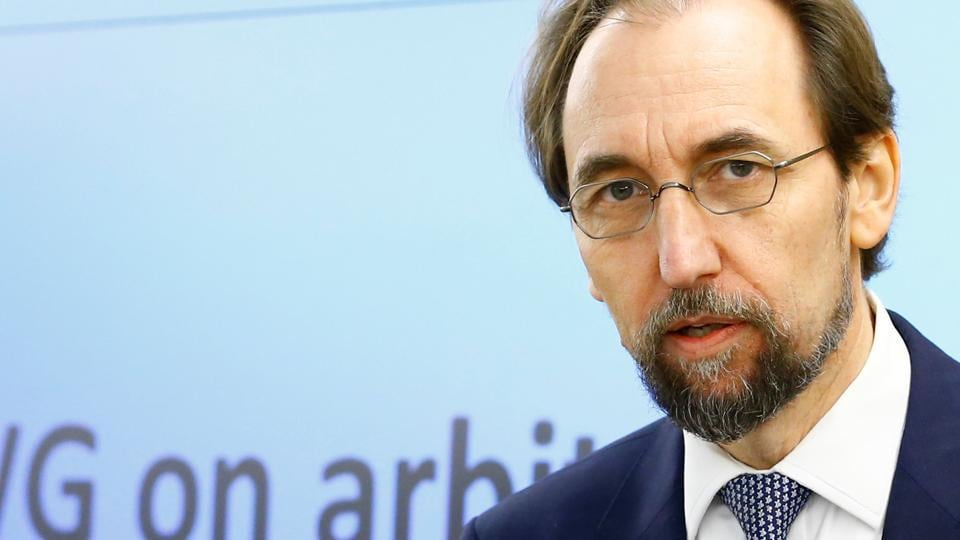 Zeid Ra'ad Al Hussein, the UN high commissioner for human rights, arrives at the 36th session of the Human Rights Council in Geneva, Switzerland, on September 11, 2017.