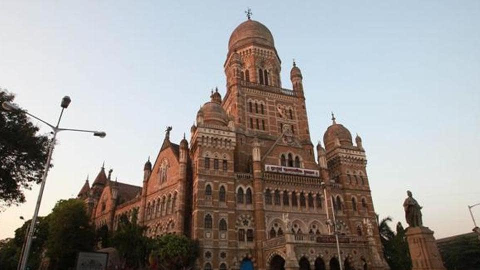 BMC officials protested outside civic body's headquarters on Wednesday.