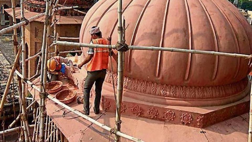 Renovation work in progress at Durbar Hall in Kapurthala on Tuesday.