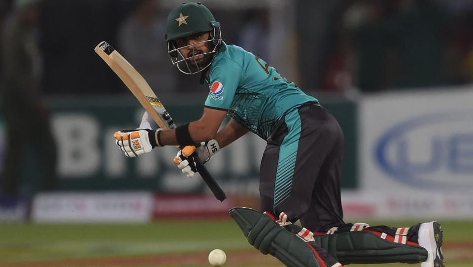 Babar Azam once again top-scored for Pakistan, this time scoring 45. (ICC/Twitter)