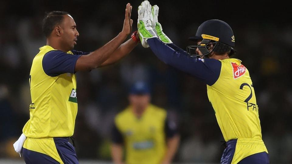 Samuel Badree and Thisara Perera took two wickets each to put brakes during the Pakistani innings. (ICC/Twitter)
