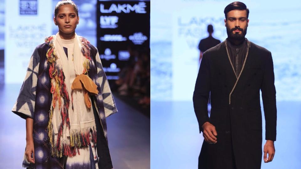 Models walk the ramp in collections by Antar-Agni by Ujjawal Dubey (left) and [KA][SHA] by Karishma Shahani Khan at Lakmé Fashion Week Winter/Festive 2016.