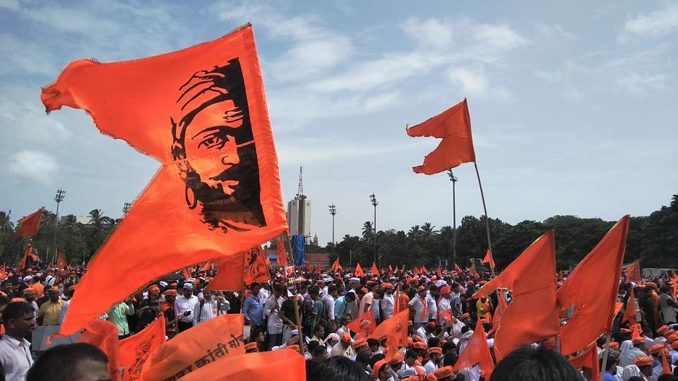 Members of the Maratha community protest.