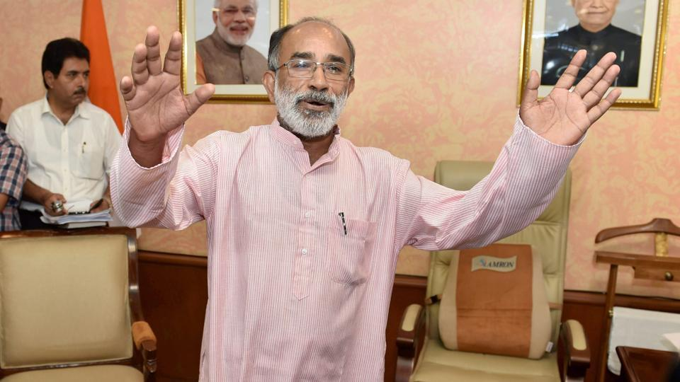 Alphons Kannanthanam, the new minister of state (Independent charge) for Tourism talking to media as he take over charge of his office in New Delhi.