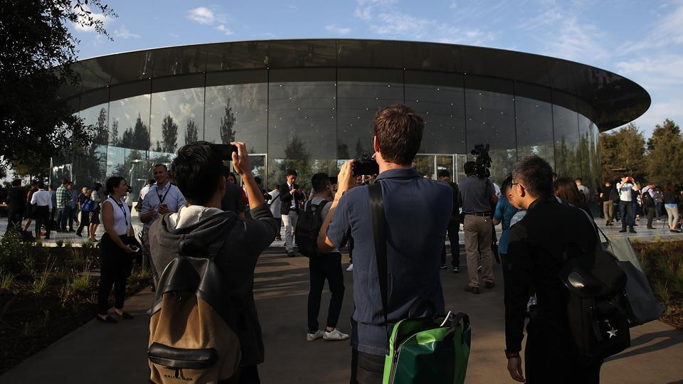 A view of the Steve Jobs Theatre at Apple Park in Cupertino, California.