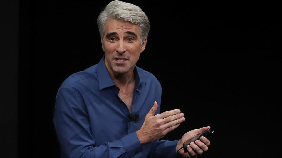 Apple's senior vice president of Software Engineering Craig Federighi speaks during an Apple special event at the Steve Jobs Theatre on the Apple Park campus on September 12.