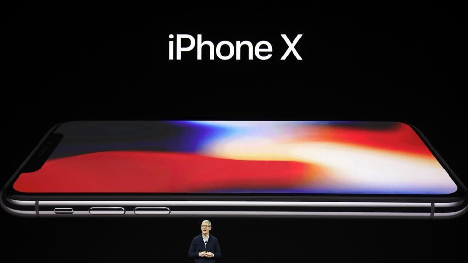 Apple CEO Tim Cook announces the new iPhone X at the Steve Jobs Theater on the new Apple campus on Tuesday.