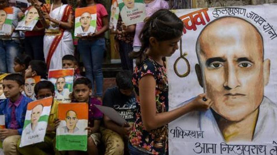 Students protest against Kulbhushan Jadhav's death sentence at Lalbaugh in Mumbai.
