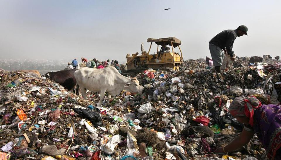 On September 01, 2017 the national capital's Ghazipur dump yard witnessed an avalanche as a nearly 15-storey-high mound fell into an adjacent canal, creating a mini-tsunami; killing two people and washing away four vehicles. With an enormous amount of trash generated annually, India's existing landfills are already brimming. Space for more such dump sites is scarce as cities themselves expand and alternatives to more efficient waste disposal such as recycling and composting the need of the hour. (Ajay Aggarwal / HT Photo )