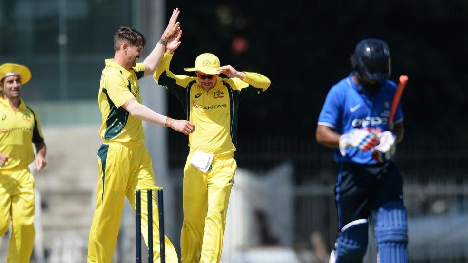 Chasing 348, Kane Richardson picked up the wicket of Rahul Tripathi cheaply.  (AFP)