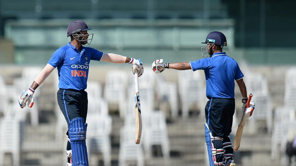 Mayank Agarwal and Shreevats Goswami stitched a 79-run stand for the second wicket but the asking rate mounted. (AFP)