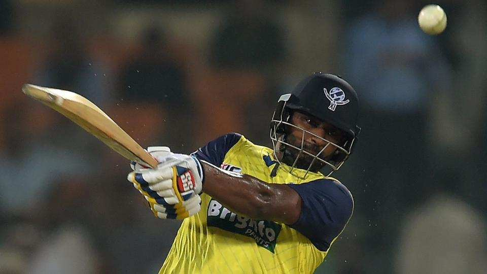 Thisara Perera guided World XI to a seven-wicket victory with a ball to spare against Pakistan in the second Twenty20 International at the Gaddafi Stadium in Lahore on Wednesday. (AFP)