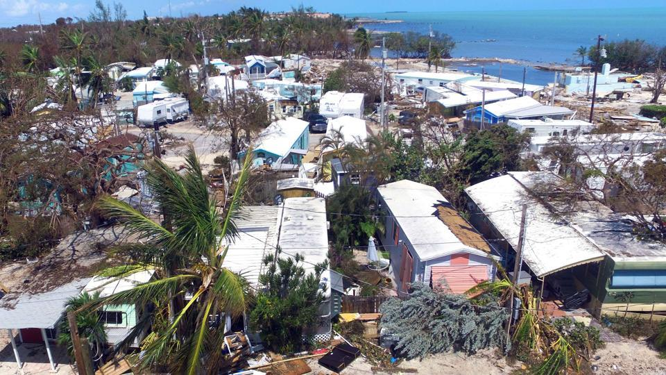 The severly damaged Sea Breeze Trailer Park complex is shown following powerful Hurricane Irma on September 12, 2017 in Islamorada, a village encompassing six of the Florida Keys.
