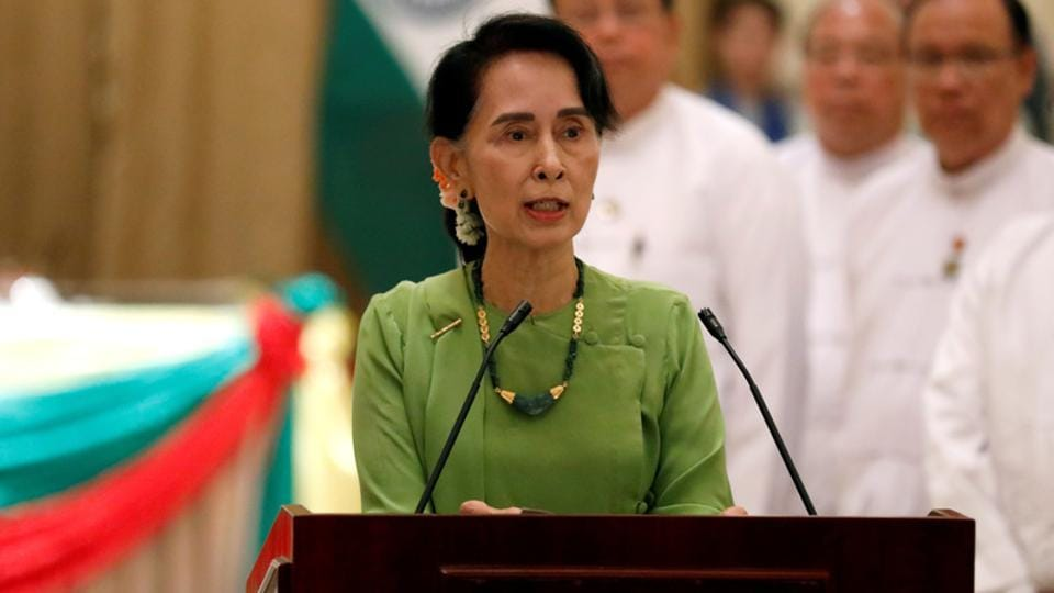 Myanmar State Counselor Aung San Suu Kyi talks during a news conference in Naypyitaw, Myanmar on September 6.