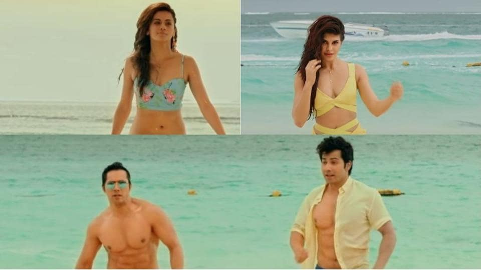 Varun Dhawan, Jacqueline Fernandez and Taapsee Pannu in the Judwaa 2 song.