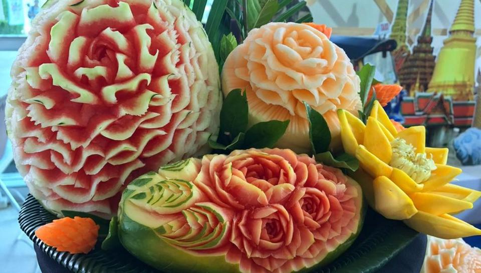 Fruit carving is a traditional art form in Thailand.