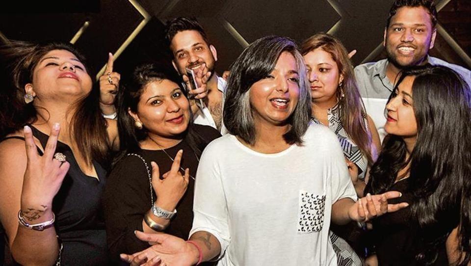 Varnika Kundu with friends at a Sec-26 club.