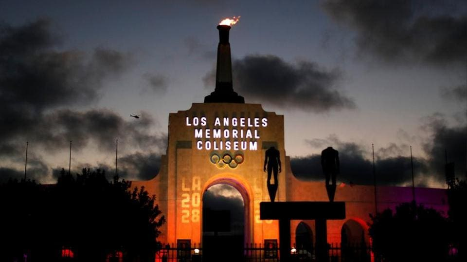 A LA 2028 sign is seen at the Los Angeles Coliseum to celebrate Los Angeles being awarded the 2028 Olympic Games, in Los Angeles, California.  (REUTERS)