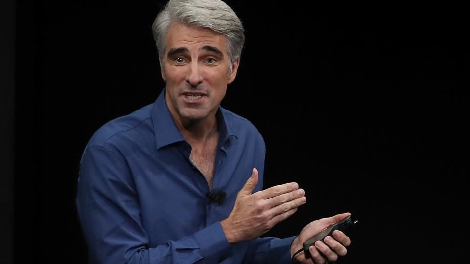 Apple's senior vice president of Software Engineering Craig Federighi speaks during an Apple special event at the Steve Jobs Theatre on the Apple Park campus.
