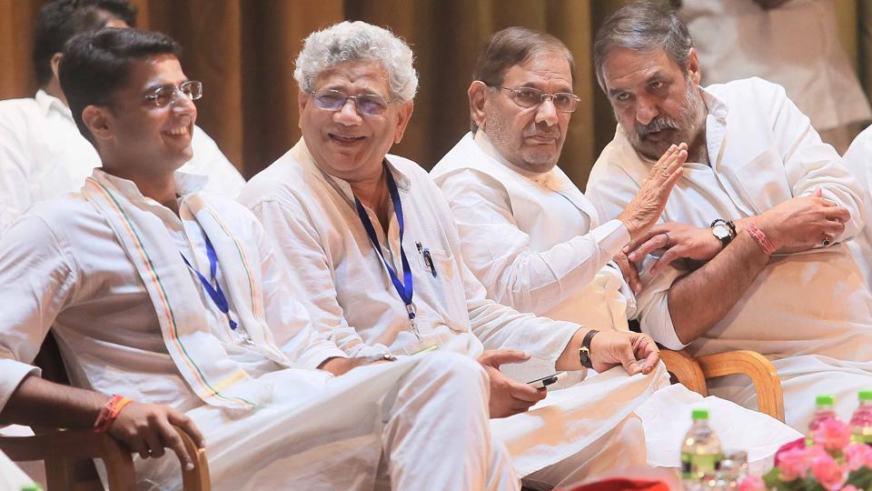 Rajasthan Congress chief Sachin Pilot, CPM general secretary Sitaram Yechury, dissident JD(U) leader Sharad Yadav and former Union minister Anand Sharma, in Jaipur, Thursday.